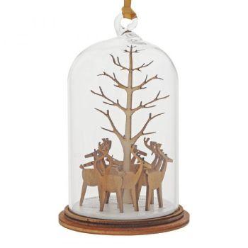 'Santa's Reindeer' Kloche Bauble - 8.5cm high x 5cm diameter.