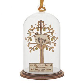'Partridge in a Pear Tree' Kloche Christmas Bauble - 8.5cm high x 5cm diameter.