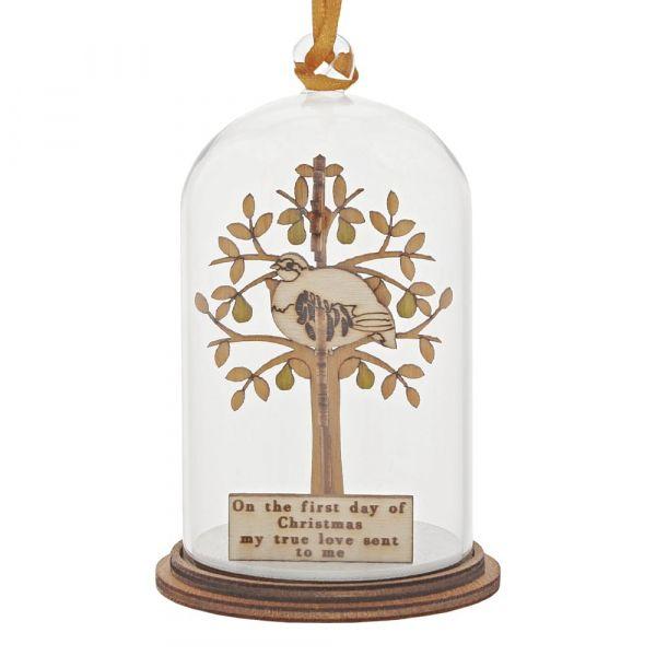 'Partridge in a Pear Tree' Kloche Christmas Bauble - 8.5cm high x 5cm diame