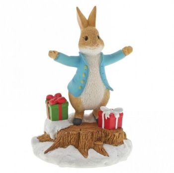 Peter Rabbit with Christmas Presents - 7cm high x 5 deep x 5 long.