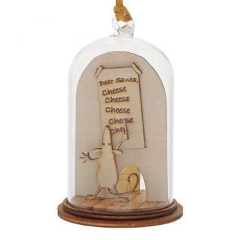 'Dear Santa... Cheese, Cheese, Cheese' Christmas Mouse Kloche Bauble - 8.5cm high x 5cm diameter.