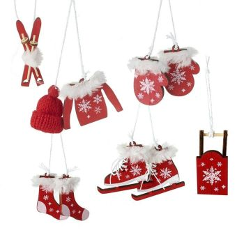 A set of Wooden Ski Accessories Baubles - Skates, Skis, Sleigh, Hat, Jumper, Mits & Socks
