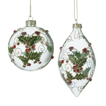 Stunning Glass Holly Berry drop Bauble - 13cm long