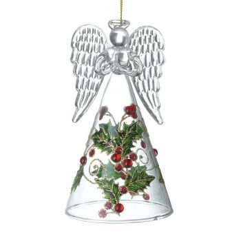 Glass Angel with Holly Dress - 13cm tall