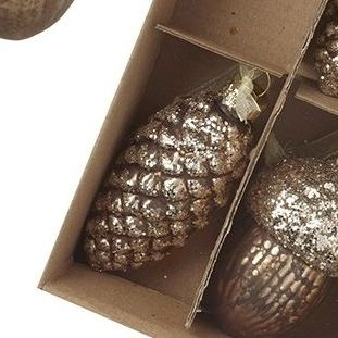 Gold Pinecone Glass Bauble - 7.5cm