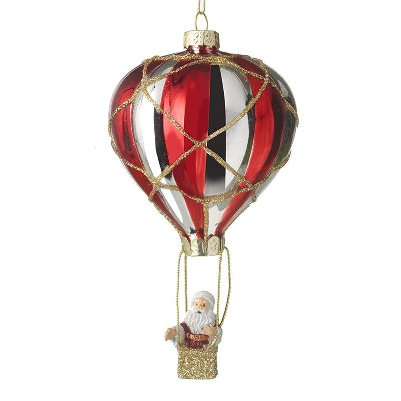 Father Christmas in a Hot Air Ballon Glass Bauble - 14cm