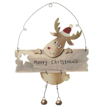 Novelty Rudolph the Reindeer wooden hanging sign -  21cm x 15cm