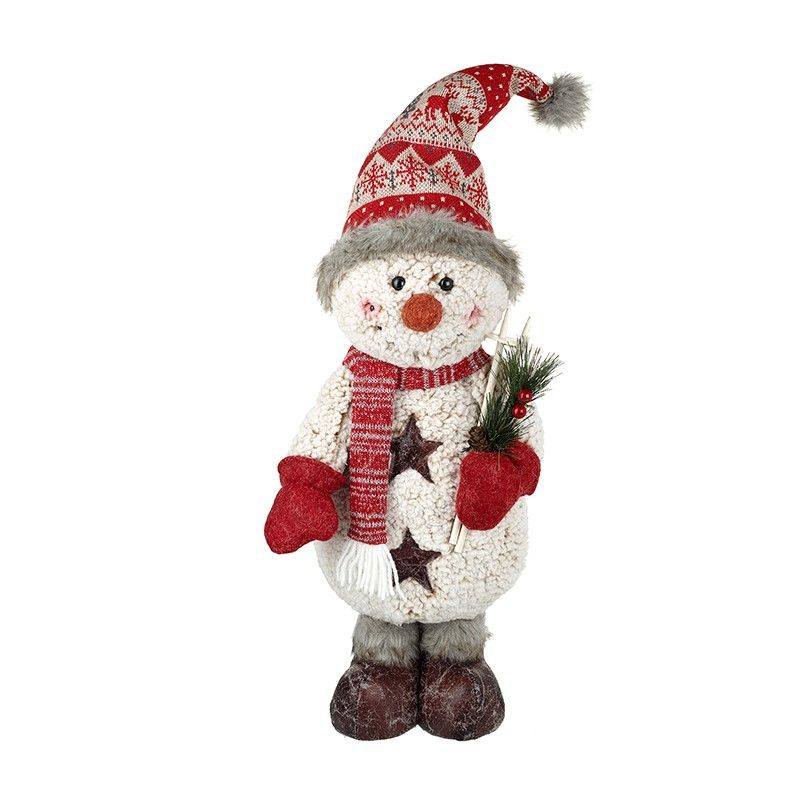Lovely Standing Snowman with Skis - 52cm Tall