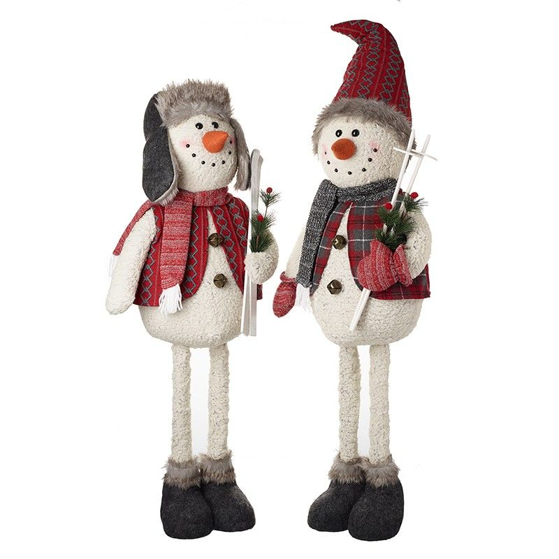 Jolly Santa with POINTY HAT carrying Skis - 94cm tall
