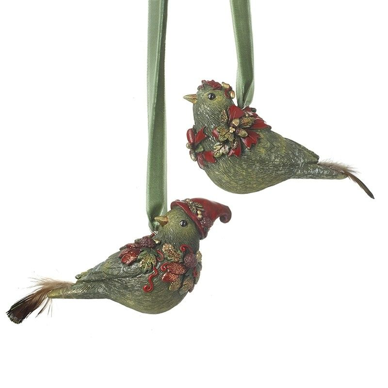 Green Hanging Bird with Bobble Hat (BOTTOM BIRD in PICTURE) - 8.8cm x 4.5 x