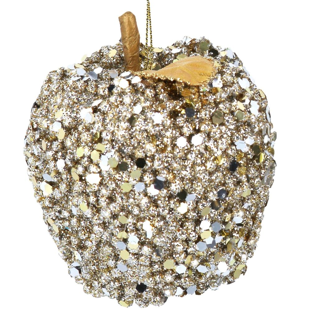 Gold Sequin Apple Bauble - 8cm tall x 8cm diameter
