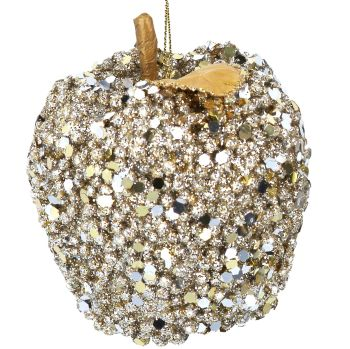 Gold Sequin Apple Bauble - 8cm tall x 8cm diameter