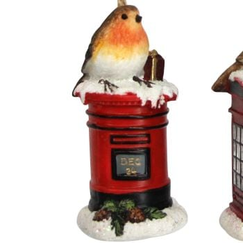 Red  British Letter Box with Christmas Robin - 9cm tall x 4.5cm diameter.