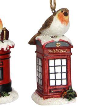 Red British Telephone Box with Christmas Robin - 9cm tall x 4.5cm diameter.