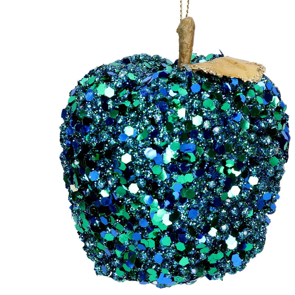 Peacock Sequin Apple Bauble - 8cm tall x 8cm diameter