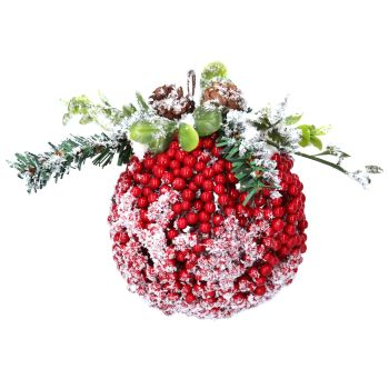Red Frosted Berry Leaf Kissing Ball - 12.5cm diameter.