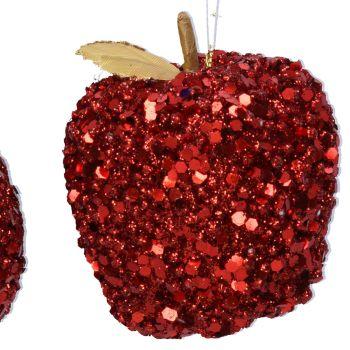 Red Sequin Apple Bauble - 8cm tall x 8cm diameter
