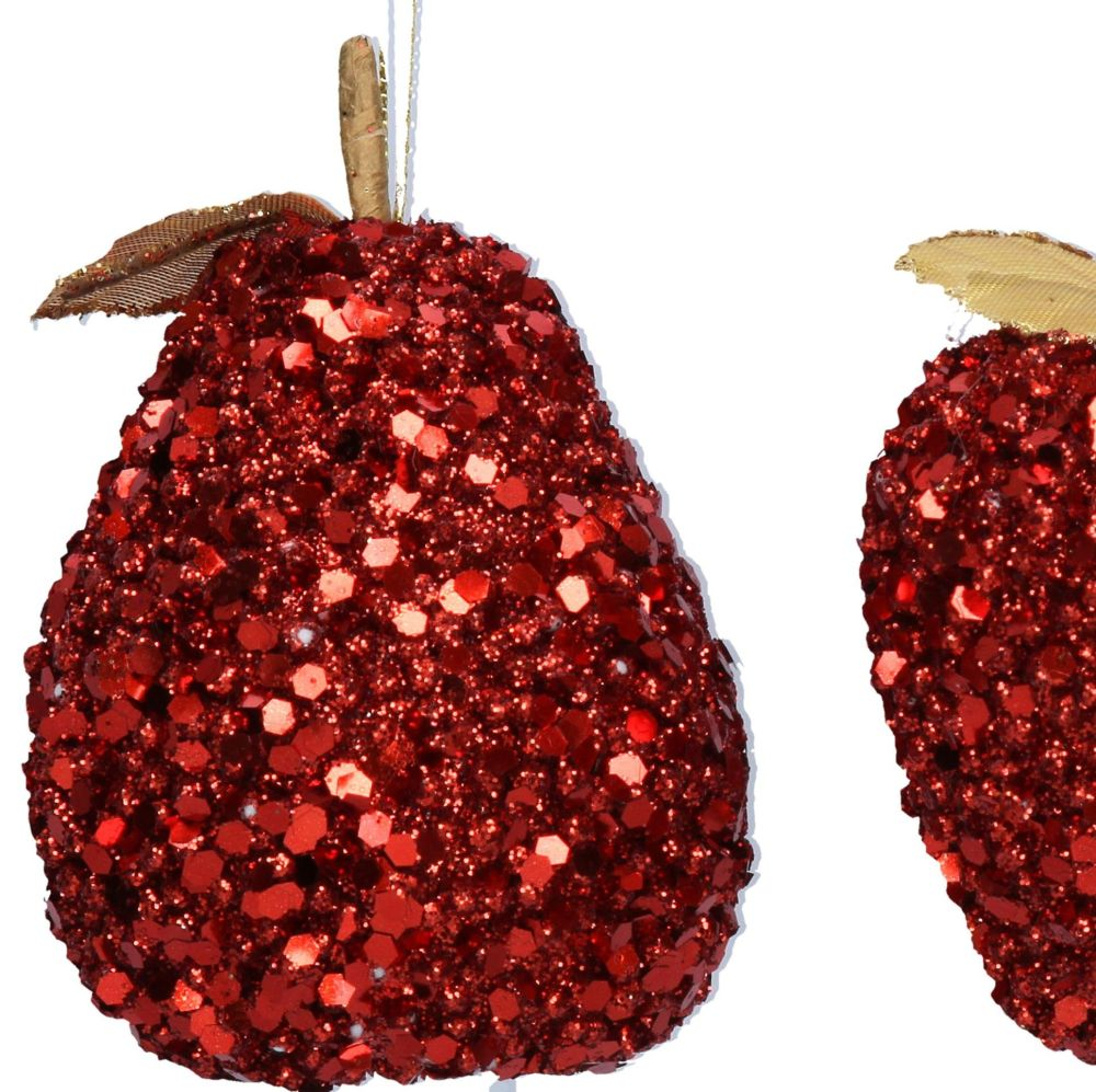 Red Sequin Pear Bauble - 10cm tall x 7.5cm diameter