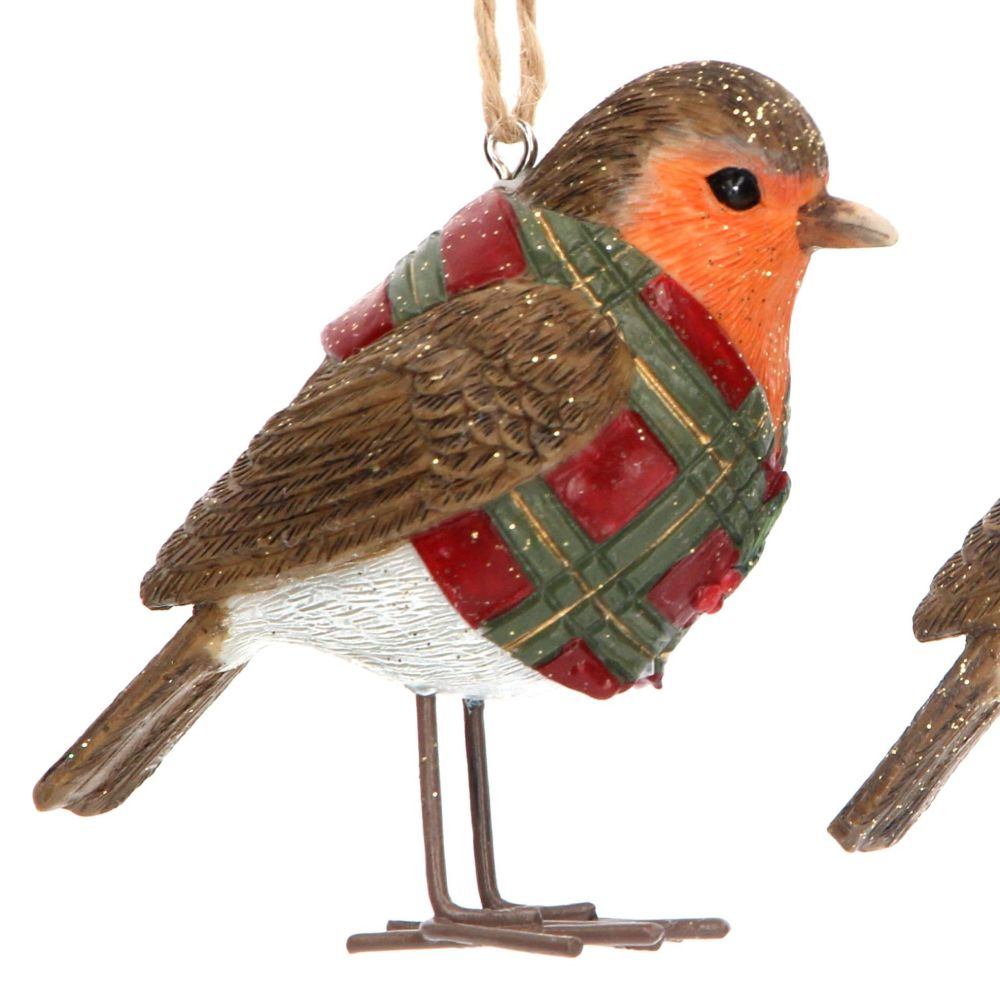 Red Christmas Robin with Red Coat & Green Tartan - 6.5cm tall x 5cm deep x