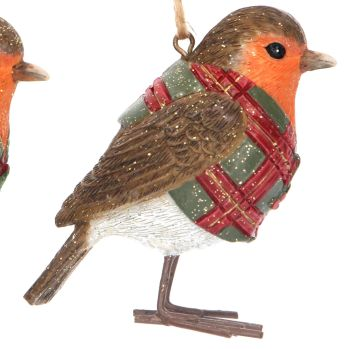 Red Christmas Robin with Green Coat & Red Tartan - 6.5cm tall x 5cm deep x 3.5cm wide