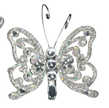 A Stunning Silver & Bejewelled Glitter clip on Butterfly. We also have matching Dragonflies for you to mix & match.