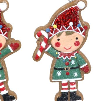Gingerbread Elf Holding a Candy Cane Bauble - 9cm tall x 5cm wide.