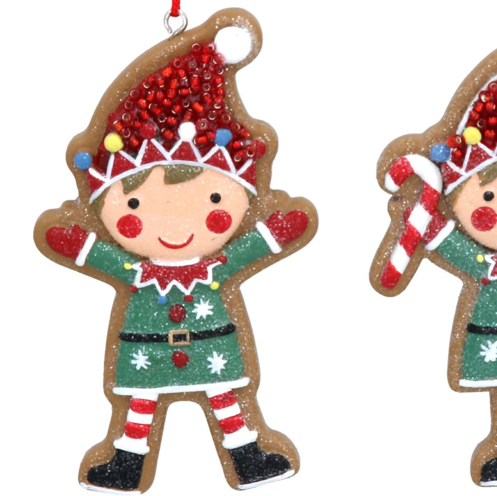 Gingerbread Elf Holding His Arms Up Waving Bauble - 9cm tall x 5cm wide.