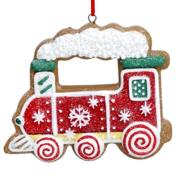 Gingerbread Red Train Bauble - 6cm tall x 7cm wide.