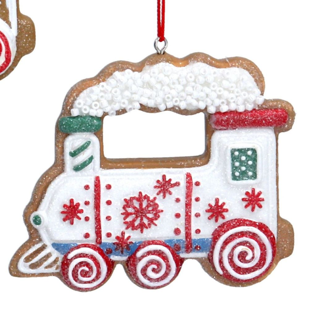 Gingerbread White Train Bauble - 6cm tall x 7cm wide.