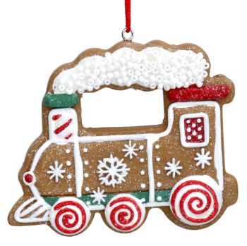 Gingerbread Natural Colour Train Bauble - 6cm tall x 7cm wide.