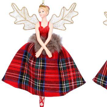 Ballerina Fairy Bauble with Tartan Dress - 16cm tall