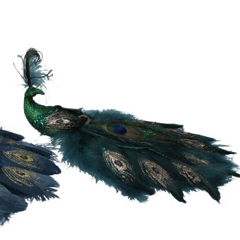 Beautiful Green Peacock Feather Clip on Christmas Tree Decoration - 11cm tall x 30cm long x 18cm wide.