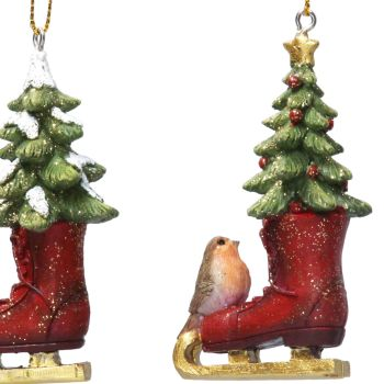 Skaters Boot with Christmas Robin & Gold Star Topped Christmas Tree - 8cm tall x 4cm wide x 2.5 deep