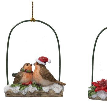 Christmas Robins sitting on a Snowy Log - 8cm tall x 6cm wide x 2.5 deep