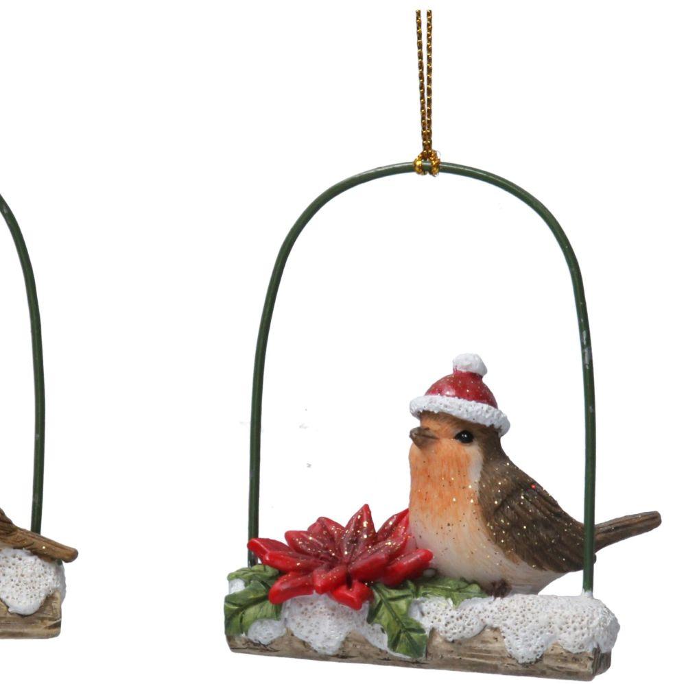 Christmas Robin sitting on a Snowy Log - 8cm tall x 6cm wide x 2.5 deep