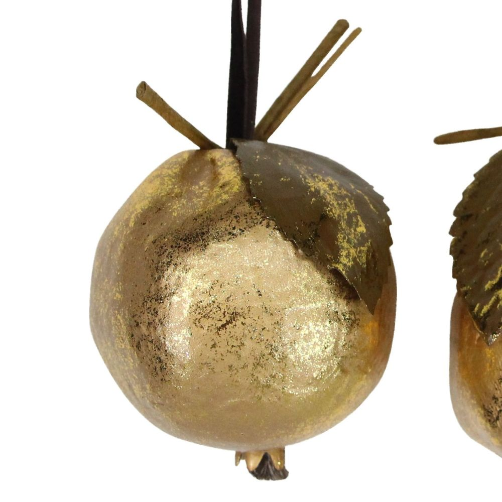 Gold Pomegranate Bauble - 9cm tall x 7.5cm diameter
