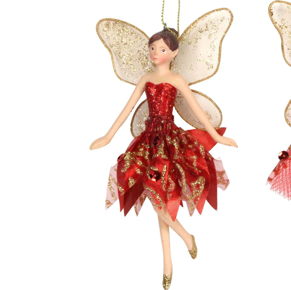 Red & Gold Fairy Bauble - 15cm tall x 9cm wide