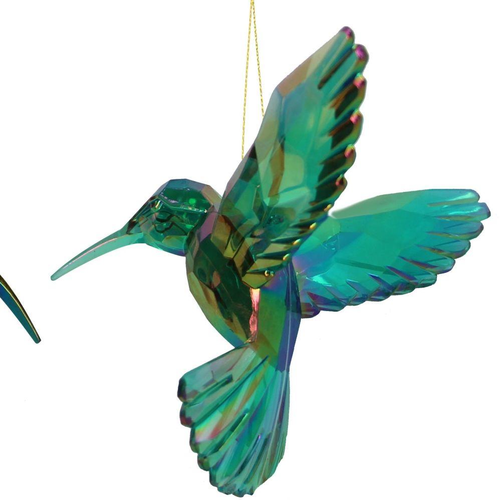 Beautiful Turquoise coloured Irridescent Hummingbird Bauble - 9cm tall x 9.