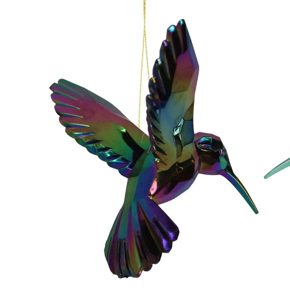 Beautiful Peacock coloured Irridescent Hummingbird Bauble - 9cm tall x 9.5c