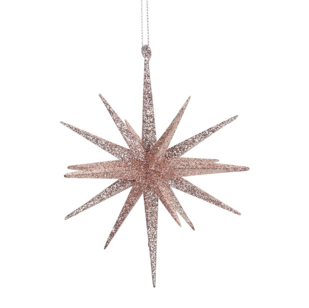 Glorious Pink Glittered Star of Bethlehem Bauble - 15cm diameter