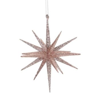Glorious Pink Glittered Star of Bethlehem Bauble - 15cm diameter