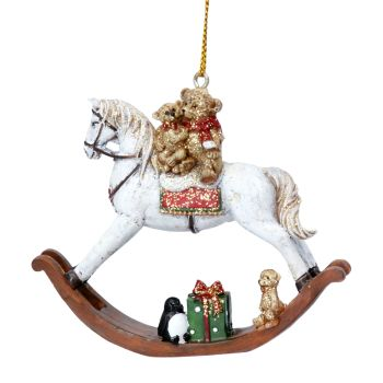 Christmas Teddy on Rocking Horse