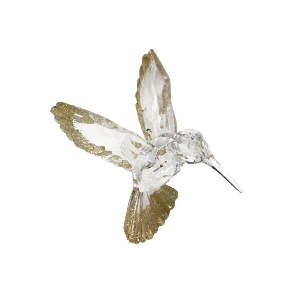 Beautiful Clear with Gold Glitter Hummingbird Bauble - 9cm tall x 9.5cm wid