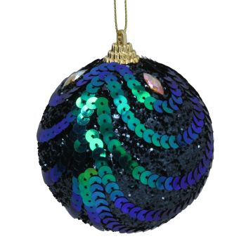 Peacock Glitter, Sequin Swag Bauble - 8cm tall x 8cm diameter