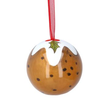 Delicious Christmas Pudding Tree Bauble on red ribbon - 6cm diameter.