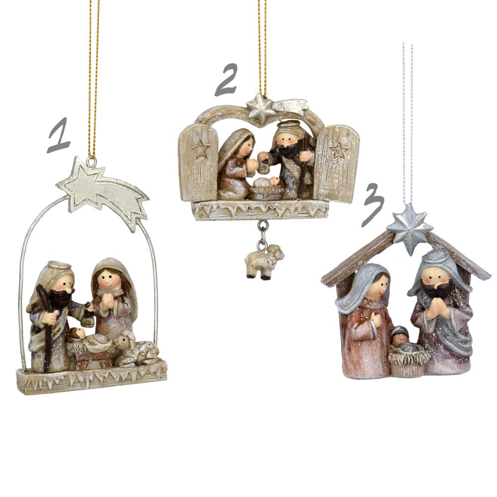 Gorgeous Nativity Scene - pastel resin ornament with 3 different designs -