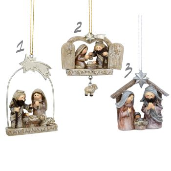 Gorgeous Nativity Scene - pastel resin ornaments in 3 different designs - 3cm - 6cm