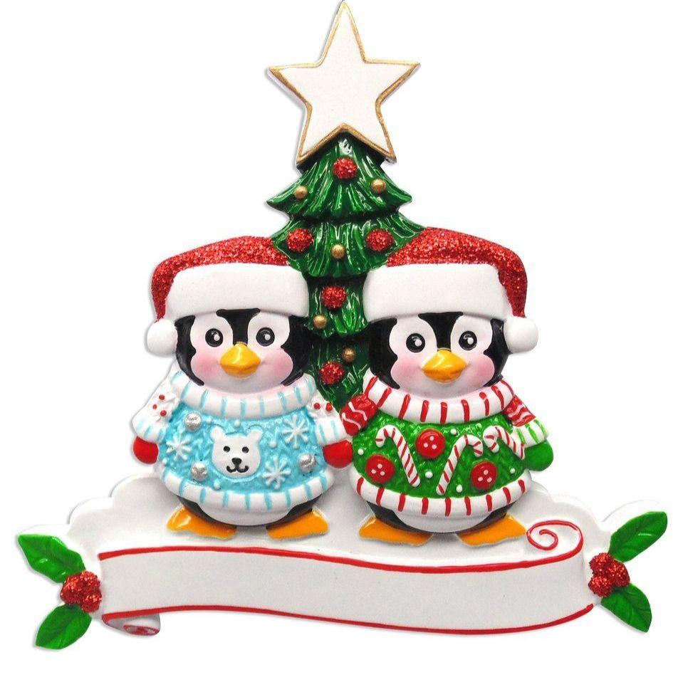 Christmas Jumper Penguin Couple