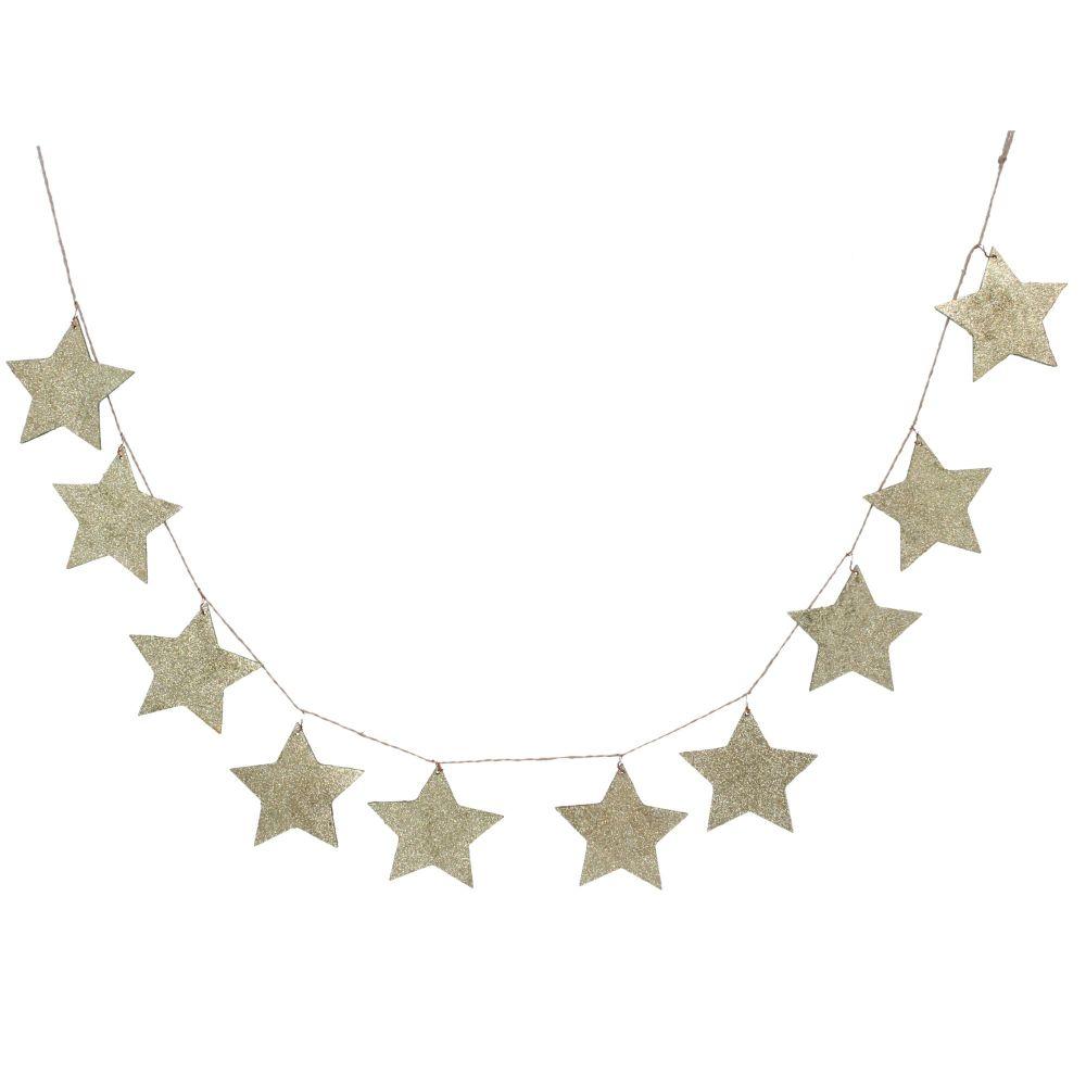 Gold Glitter Stars Garland on String.