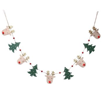 Wooden Rudolph and Christmas Tree Garland.